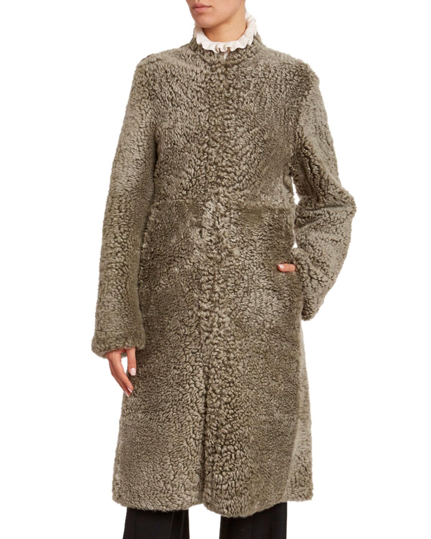 Chloé Coats SHEARLING HIGH-NECK COAT