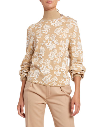 Lace Jacquard Turtleneck Sweater