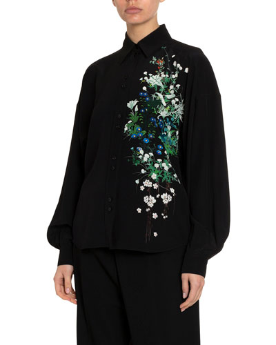 Floral One-Sided Classic Blouse