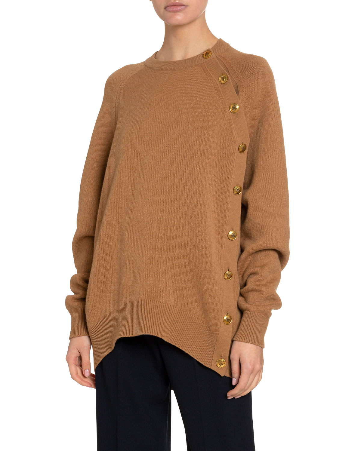 Givenchy Sweaters CASHMERE-WOOL BUTTON-SIDE SWEATER