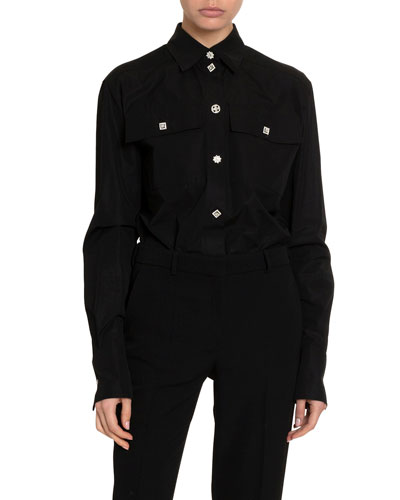 Silk Jewel-Button Two-Pocket Blouse