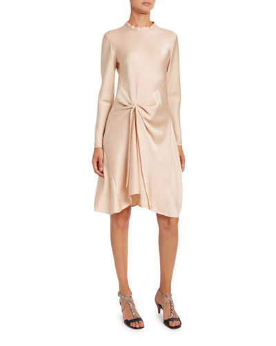 Fluid Satin Ruched-Side Dress