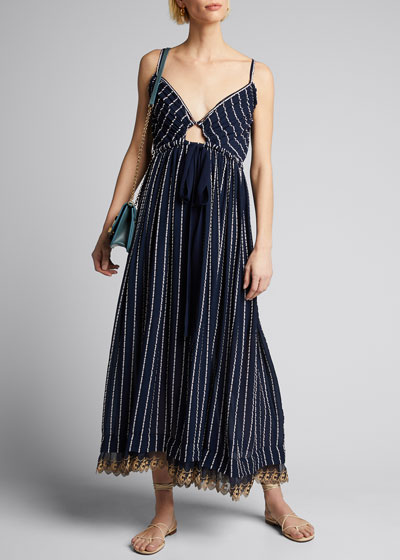 Striped Silk-Cotton V-Neck Dress