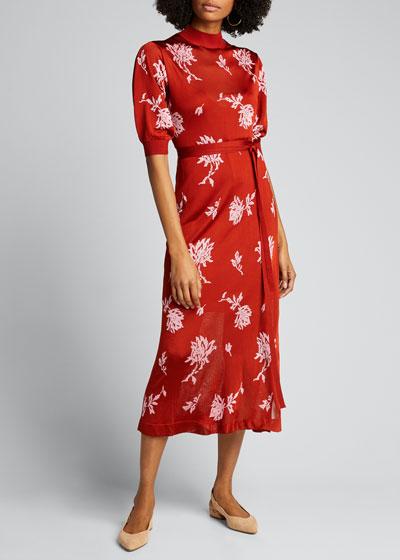 Embellished Floral Jacquard Midi Dress