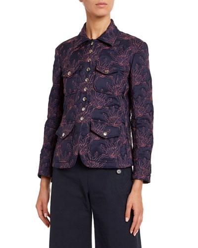 Embroidered Plonge Silk Jacket