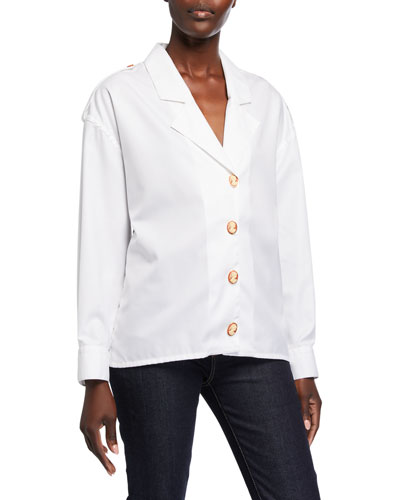 Blazer-Lapel Cameo-Button Poplin Shirt