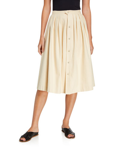 Jewel-Button Front Midi Skirt