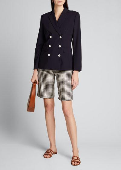 Houndstooth Linen Bermuda Shorts