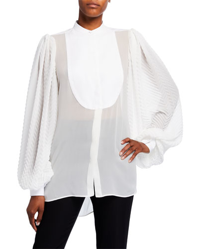 Georgette Chevron-Sleeve Blouse w/ Puffy Sleeves