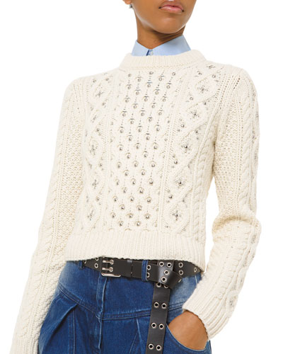 Cashmere Studded Cable-Knit Sweater