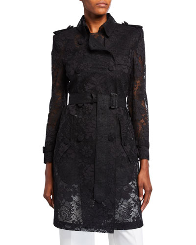 Floral-Lace Double-Breasted Trench Coat