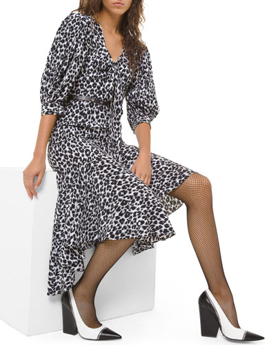 Leopard-Print Silk Asymmetric Dress