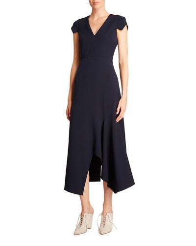 Kinglake Crepe Cap-Sleeve Dress