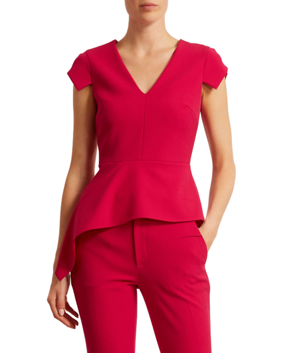 Roland Mouret BREEN CREPE V-NECK TOP