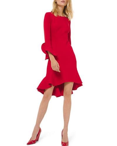 Long-Sleeve Flounce Dress