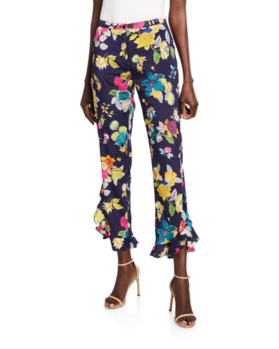 Exotic Floral-Print Stretch Silk Ruffle Pants
