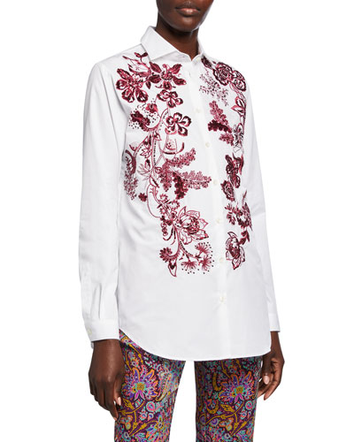 Floral Embroidered Poplin Shirt