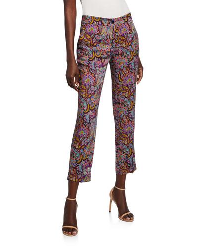 Paisley Print Jersey Pants