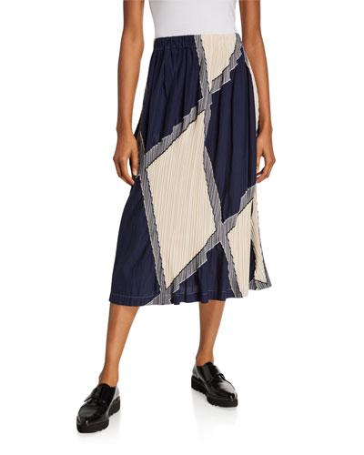 Multi Colorblock Pleated Skirt