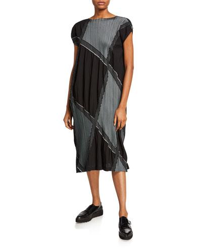 Colorblocked Pleated Dress