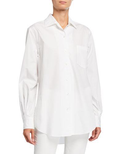 Oversized Poplin Button-Front Shirt