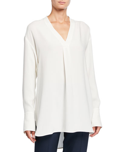 Silk-Wool V-Neck Oversized Blouse