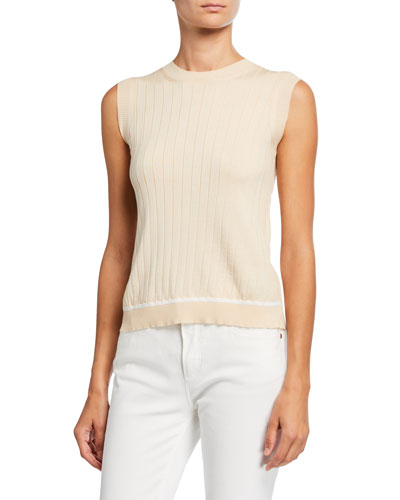 Silk-Cotton Ribbed Shell Sweater