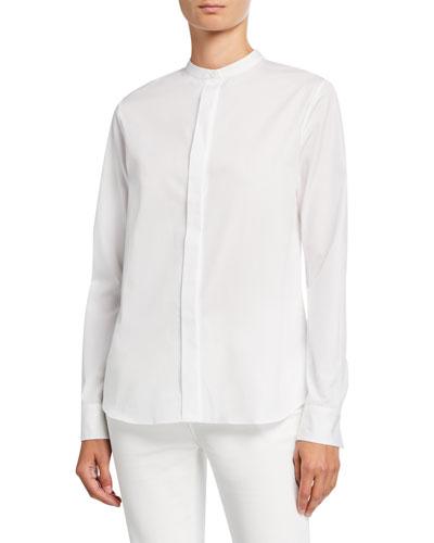 Mandarin-Collar Poplin Shirt