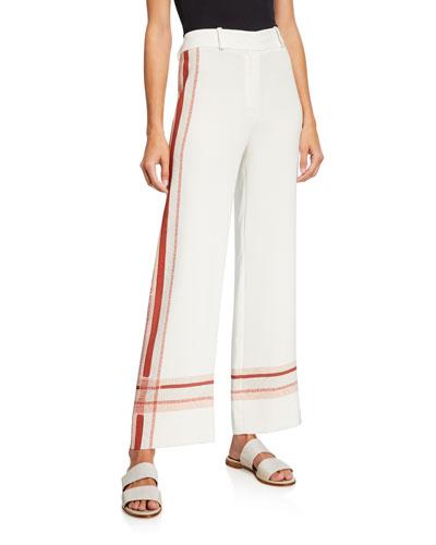 Striped Stretch-Silk Cropped Wide Leg Pants