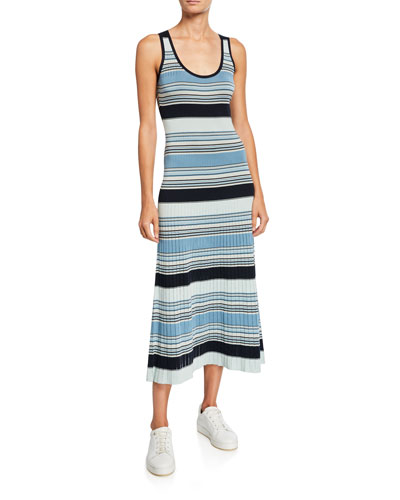 Striped-Knit Pleated Skirt Midi Dress