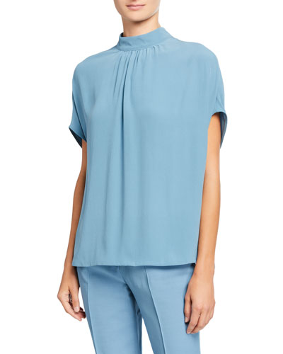 Satin Cap-Sleeve Gathered-Neck Blouse