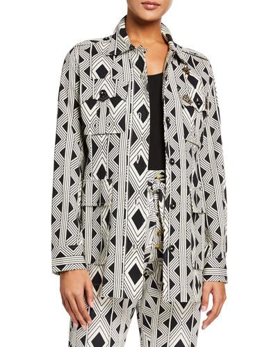 Geometric-Print Safari Jacket