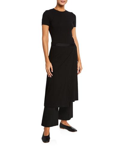 Long-Sleeve Apron Wrap T-Shirt