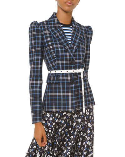 Plaid Puff-Sleeve Fitted Blazer