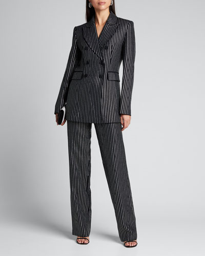 Crystal Pinstriped Double-Breasted Dinner Jacket