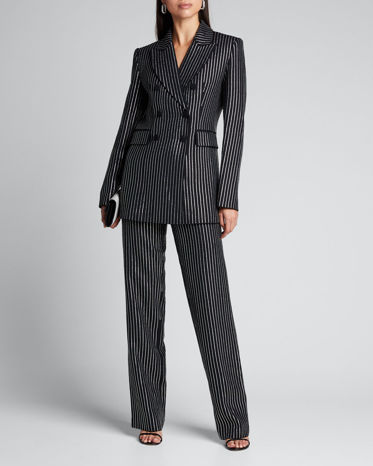 Michael Kors Jackets CRYSTAL PINSTRIPED DOUBLE-BREASTED DINNER JACKET