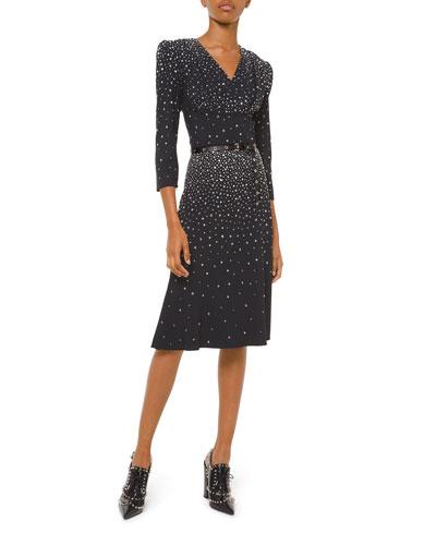 Embellished V-Neck Flare Dress