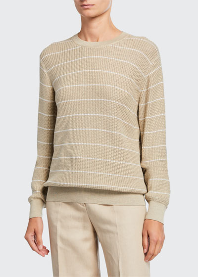 Striped Balloon-Sleeve Crewneck Sweater