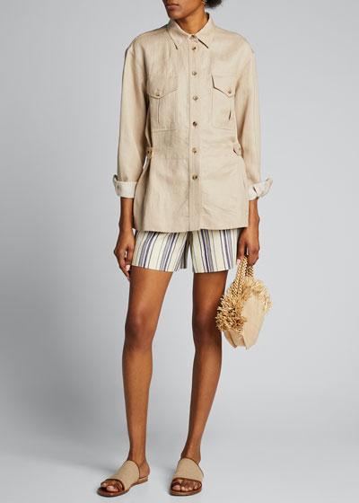 Lonny Striped Cotton Hemp Shorts