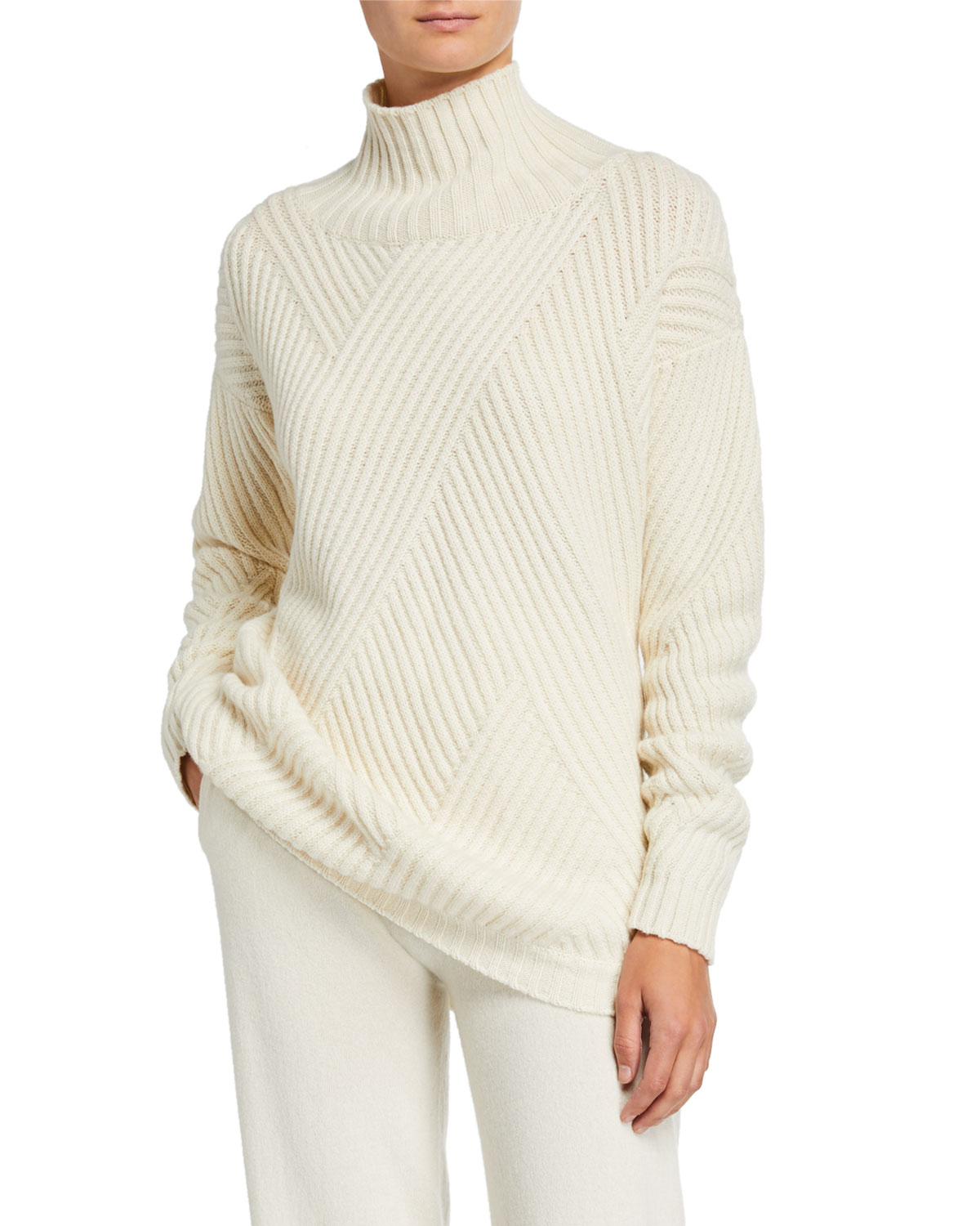 Agnona Sweaters CASHMERE-RIBBED DIAGONAL-PATCHWORK SWEATER