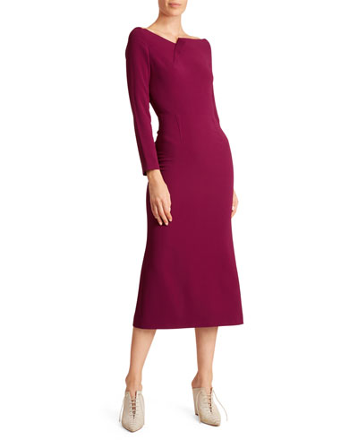 Square-Neck Long-Sleeve Jersey Dress
