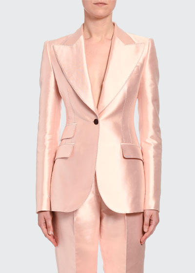 Silk Satin One-Button Jacket