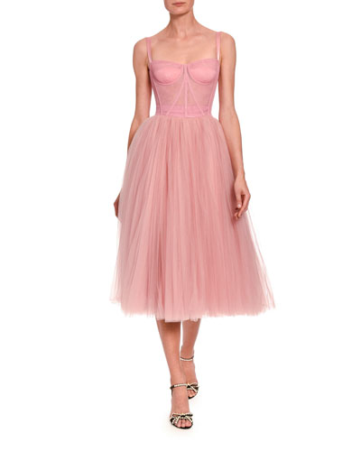 Tulle Bustier Tea-Length Dress