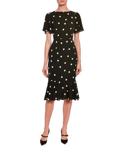 Polka-Dotted Silk Flutter-Sleeve Dress