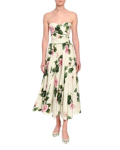 Strapless Floral-Print Poplin Midi Dress