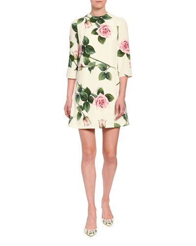 Floral Cady 3/4-Sleeve Shift Dress