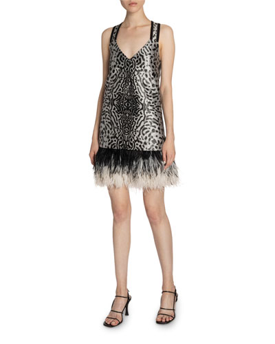 Animal-Print Jacquard V-Neck Feather-Trim Dress