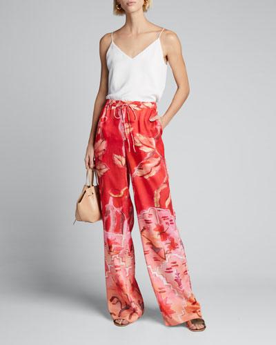 Floral-Print Drawstring Pants