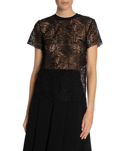 Floral Lace Short-Sleeve Top