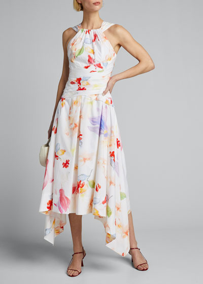 Floral  Cotton Asymmetric Halter Dress